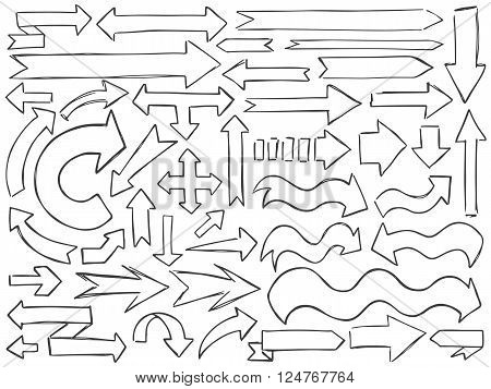 Arrows Doodle Pencil Signs Set Curve Black White