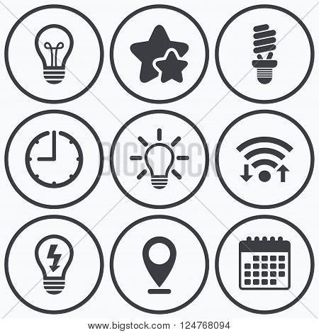 Clock, wifi and stars icons. Light lamp icons. Fluorescent lamp bulb symbols. Energy saving. Idea and success sign. Calendar symbol.