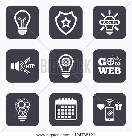 Mobile payments, wifi and calendar icons. Light lamp icons. Circles lamp bulb symbols. Energy saving with cogwheel gear. Idea and success sign. Go to web symbol.