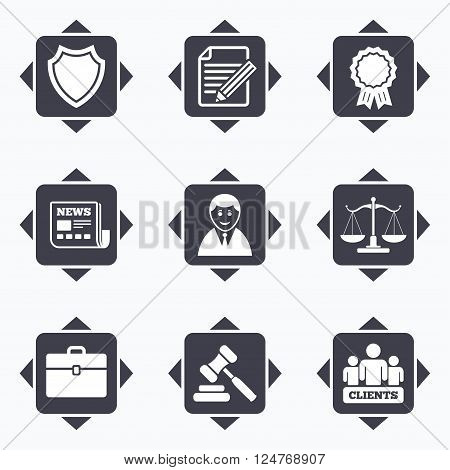 Icons with direction arrows. Lawyer, scales of justice icons. Clients, auction hammer and law judge symbols. Newspaper, award and agreement document signs. Square buttons.