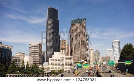 A rare warm clear sunny day in Seattle Washington