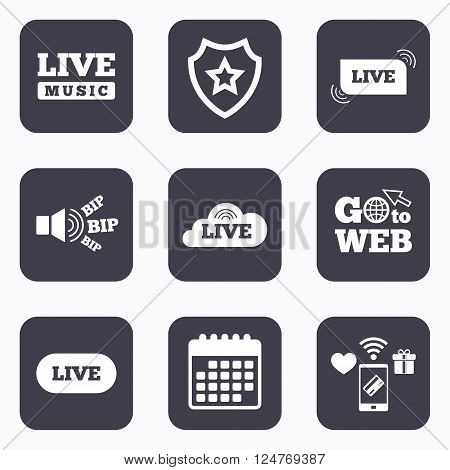 Mobile payments, wifi and calendar icons. Live music icons. Karaoke or On air stream symbols. Cloud sign. Go to web symbol.