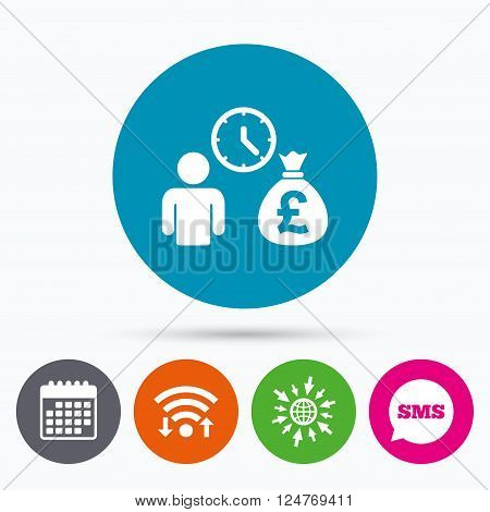 Wifi, Sms and calendar icons. Bank loans sign icon. Get money fast symbol. Borrow money. Go to web globe.