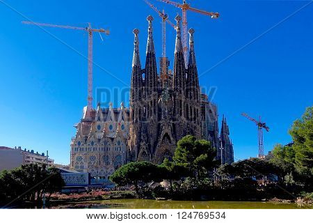 Barcelona, Spain, November 15, 2015 - The Sagrada Familia with blue sky.