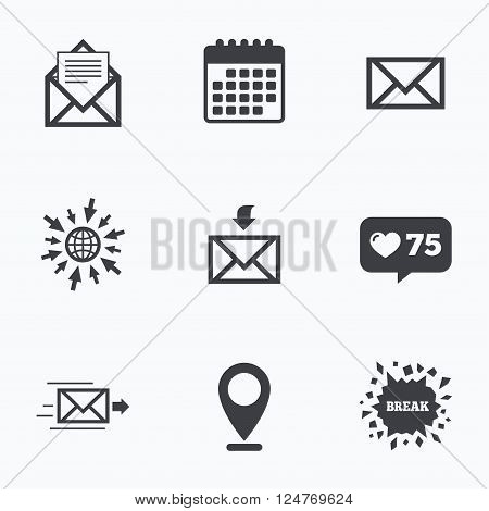 Calendar, like counter and go to web icons. Mail envelope icons. Message document delivery symbol. Post office letter signs. Inbox and outbox message icons. Location pointer.