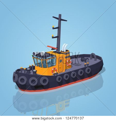 Orange and black tugboat against the blue background. 3D lowpoly isometric vector illustration