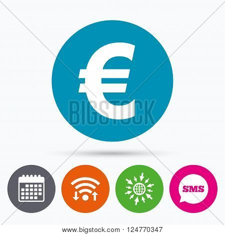 Wifi, Sms and calendar icons. Euro sign icon. EUR currency symbol. Money label. Go to web globe.