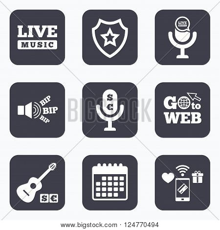 Mobile payments, wifi and calendar icons. Musical elements icons. Microphone and Live music symbols. Paid music and acoustic guitar signs. Go to web symbol.