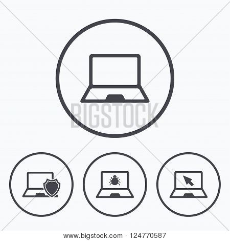 Notebook laptop pc icons. Virus or software bug signs. Shield protection symbol. Mouse cursor pointer. Icons in circles.