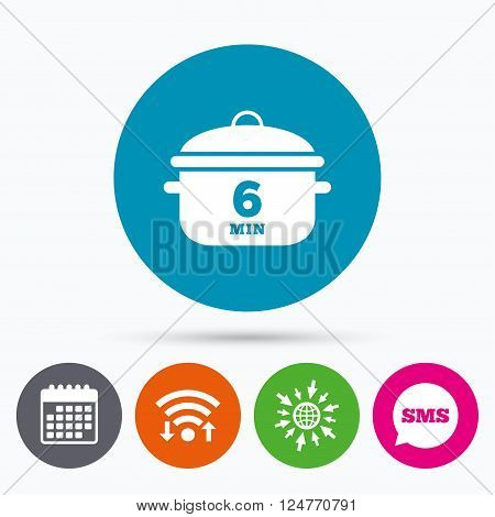 Wifi, Sms and calendar icons. Boil 6 minutes. Cooking pan sign icon. Stew food symbol. Go to web globe.