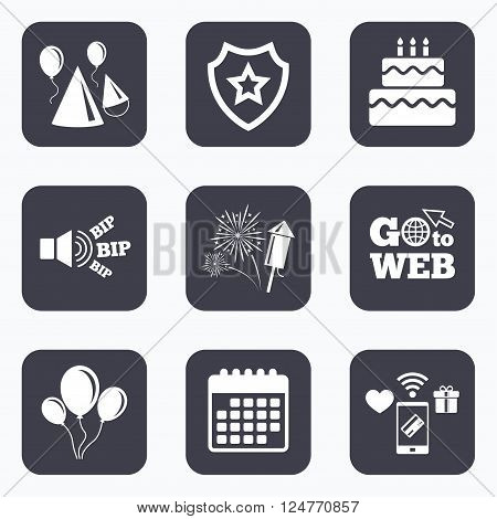 Mobile payments, wifi and calendar icons. Birthday party icons. Cake, balloon, hat and muffin signs. Fireworks with rocket symbol. Double decker with candle. Go to web symbol.