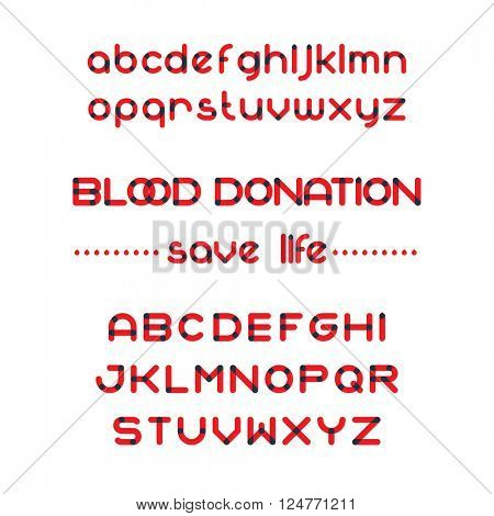 Round blood font set. Blood donation typeset. Save life. Vector blood alphabet
