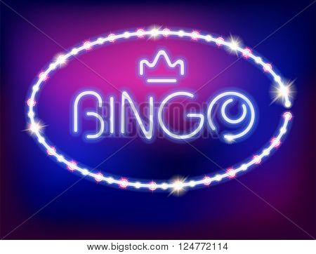 Neon Light Bingo Isolated Vector Illustration. Pattern Brushes and Style are Included.