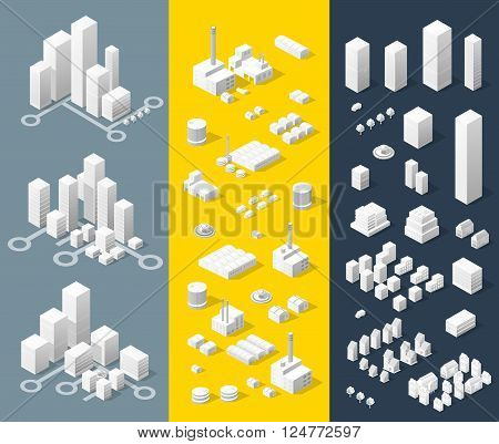 City isometric map, consisting of skyscrapers city street and road in white