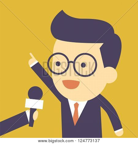 Business man interview with microphone for cartoon concept