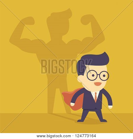 Businessman casting strong man shadow  for cartoon concept