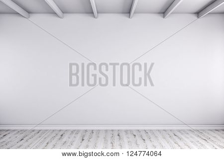 3d render of wmpty room with white walls and wooden floor