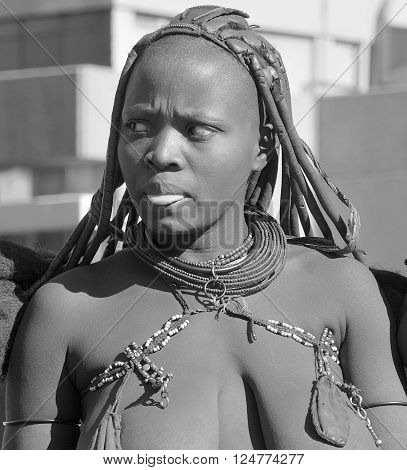 WINDHOEK, NAMIBIA OCTOBER 01, 2014: Unidentified woman from Himba tribe. The Himba are indigenous peoples living in northern Namibia, in the Kunene region of South-West Africa on october 09 2014