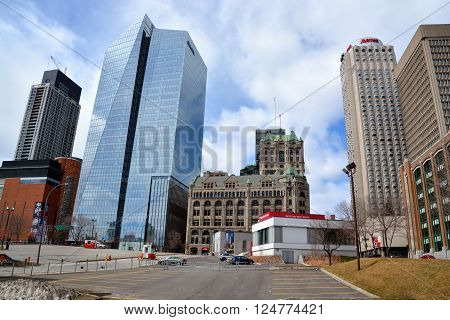 MONTREAL CANADA APRIL 02 2016: Downtown Montreal is the central business district of Montreal, Quebec, Canada.