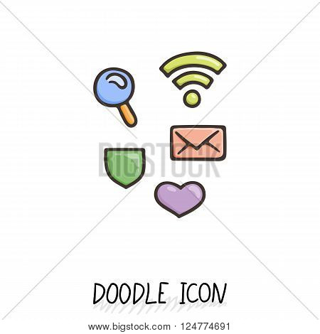Set of doodle social icons. Search, wifi, protection, love, mail. Minimal pictogram.