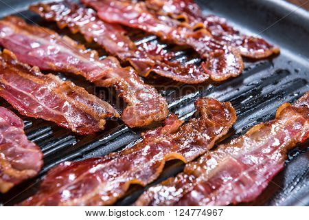 Skillet With Fried Bacon