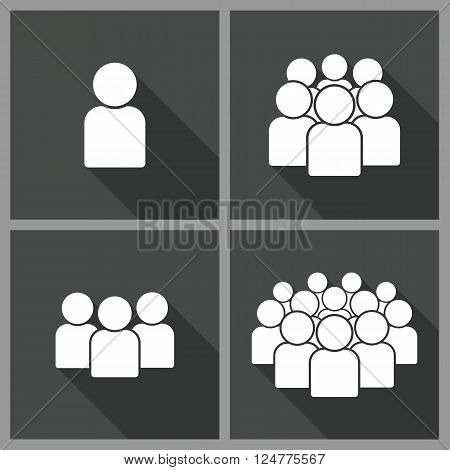 llustration of crowd of people - icon silhouettes vector. Set social icon. Vector flat illustration.