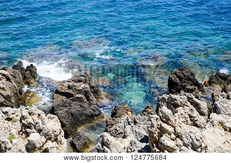 a place where the shore meets the blue sea
