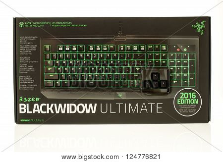 Winneconne WI - 28 March 2016: Package fo a Blackwidow utlimate gaming keyboard made by Razer.