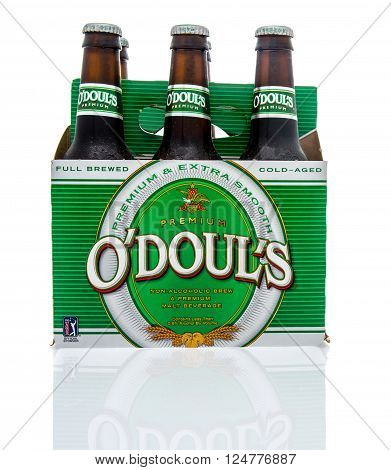 Winneconne, WI - 16 March 2016: Six pack of O'doul's non-alcoholic malt beverage.