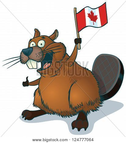 Vector cartoon clip art of a cute happy cartoon beaver waving a Canadian flag.