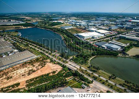 Industrial estate land development water reservoir aerial view