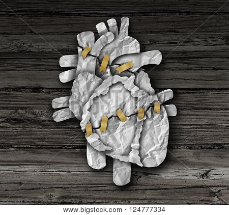 Human heart surgery medical concept or cardiology symbol as a cardiac operation therapy treatment and cardiovascular surgical procedure as a broken organ made of crumpled paper repaired with tape as a 3D illustration style.