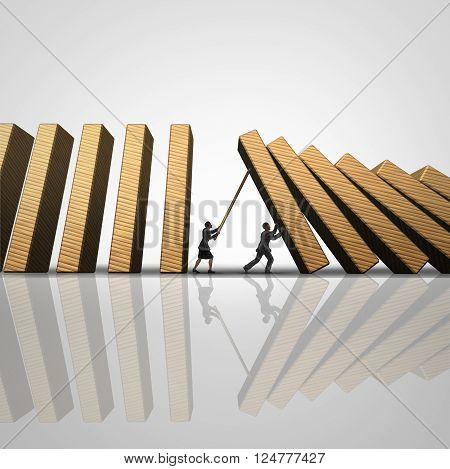 Corporate solution stopping the domino effect business concept as a businesswoman and businessman intervene to stop falling 3D illustration dominos as a success metaphor for intervening for security.