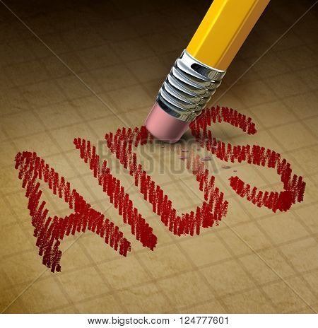Aids fight and HIV or human immunodeficiency virus concept as a 3D illustration of a pencil eraser erasing text as a healthcare or health care metaphor for the treatment and research in a cure for the disease.