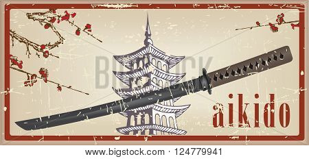Vintage card with a sword Bokken is used in Aikido. Vector illustration.
