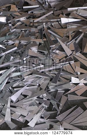 abstract of aluminum scraps in the factory ** Note: Shallow depth of field