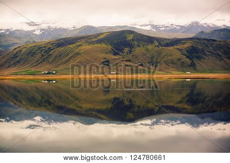 Landscape of mountain with mirror Lake - Iceland
