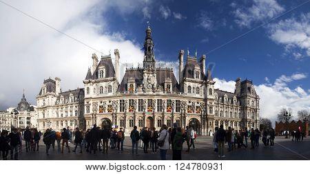 PARIS, FRANCE - MARCH 26, 2016: Hotel de Ville in Paris, France