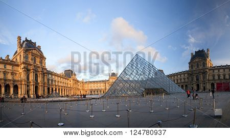 PARIS, FRANCE - MARCH 27, 2016: Louvre museum in spring. Louvre museum is one of the largest and most visited museums worldwide.year.