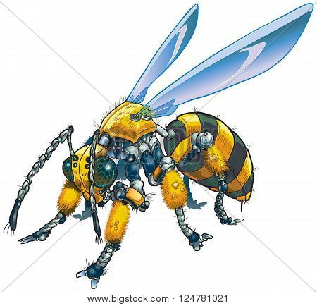 Vector cartoon clip art illustration of a robot wasp or bee. Could also be a conceptual illustration of future drone technology.