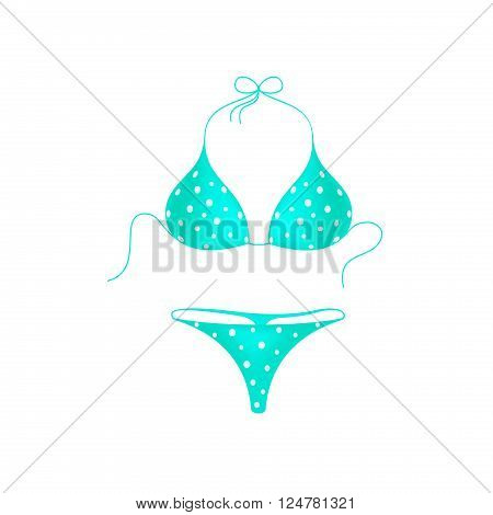 Turquoise bikini suit with white dots on white background