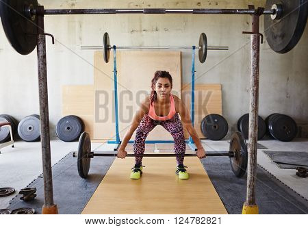 Beautiful woman in a private gym lifting weights in a focussed and serious manner