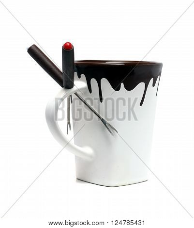 Fondue White Cup On A White Background