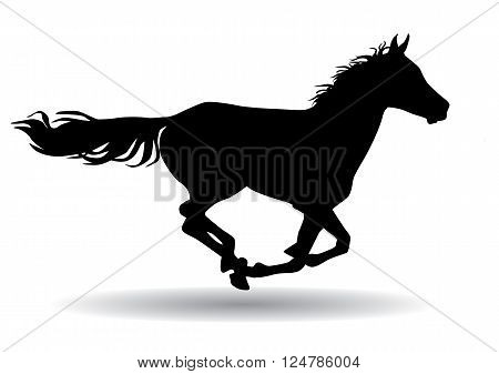 A horse gallops fast vector illustration silhouette on a white background