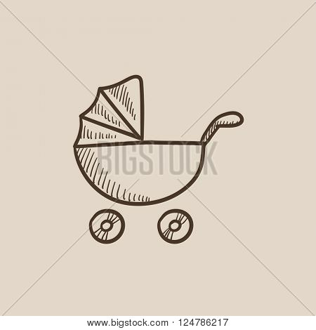 Baby stroller sketch icon.