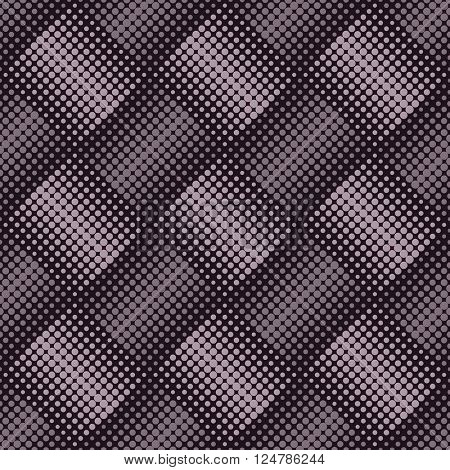 Seamless vintage diamond shape halftone vector background.