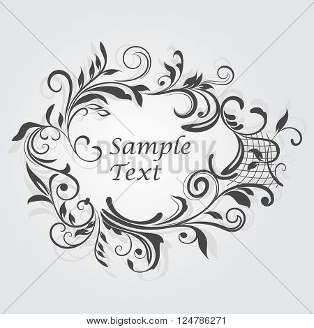 Vintage floral frame with copy space vector template.