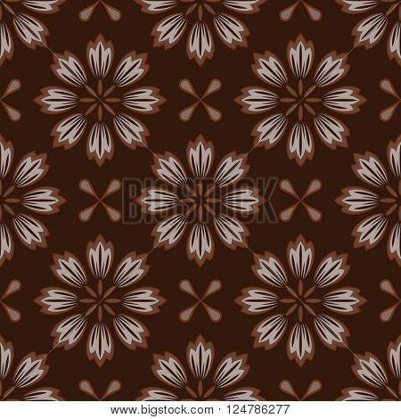 Seamless abstract brown flower vector pattern.