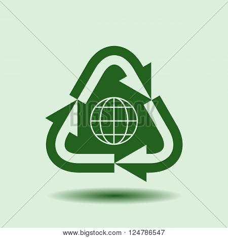 Recycle Symbol, Isolated design element , background for ecology, go green, Earth day template. Vector illustration.