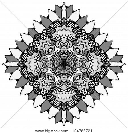 Mandala. Vector Ethnic Oriental Circle Ornament. Monochrome Colors. Shades of Grey